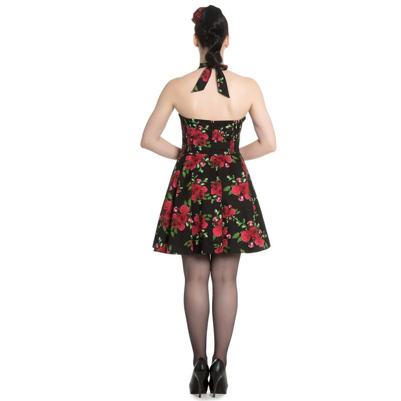 Hell Bunny Annabelle Red Rose Floral Mini Halterneck Black Dress