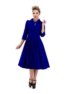 Hearts & Roses 50s Glamorous Blue Velvet Tea Dress