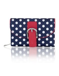 Ruby Shoo Garda Purse Navy Polka Dot With Red Accents