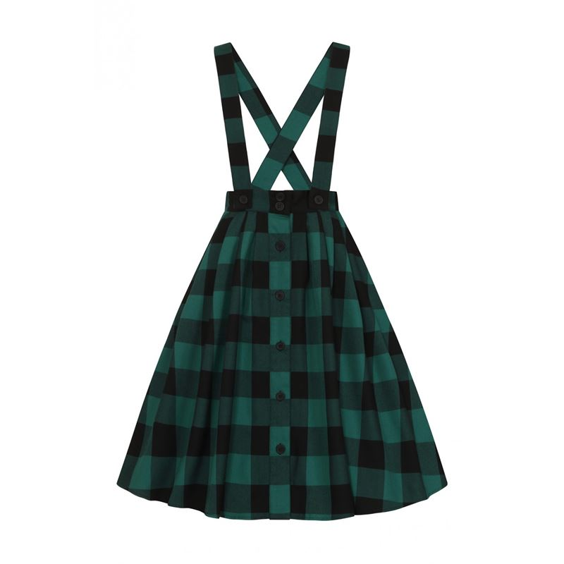 Hell Bunny Teen Spirit Pinafore Tartan Check 50s Skirt