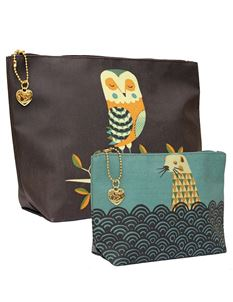 Magpie Wildlife Dusk Owl and Otter Set of Two - Wash and Make Up Bags