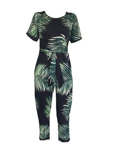 Trollied Dolly Jumpsuit - Navy Autumn Palm