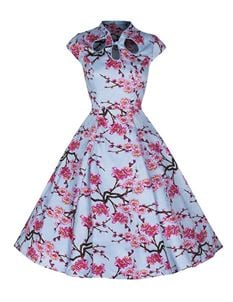 Banned 50s Sky Blue Floral Print Swing Dress