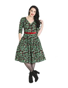 Hell Bunny Holly Berry 50s Xmas Christmas Black Dress