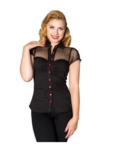 Sheen 40s 50s Heart Black Polka Dot Mesh Evening Blouse