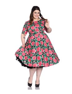 Hell Bunny Three Quarter Sleeve Plus Size Floral Dress