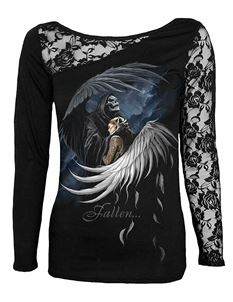 Spiral Direct Fallen Angel Lace One Shoulder LS Top