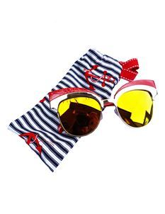 Guns N Posies Red & Gold Cat Eye Retro Frame Sunglasses
