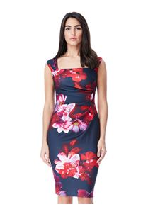 Bettie Vintage Navy Pink Floral Wiggle Dress