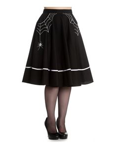 Hell Bunny Miss Muffet Skirt Black With White Spider