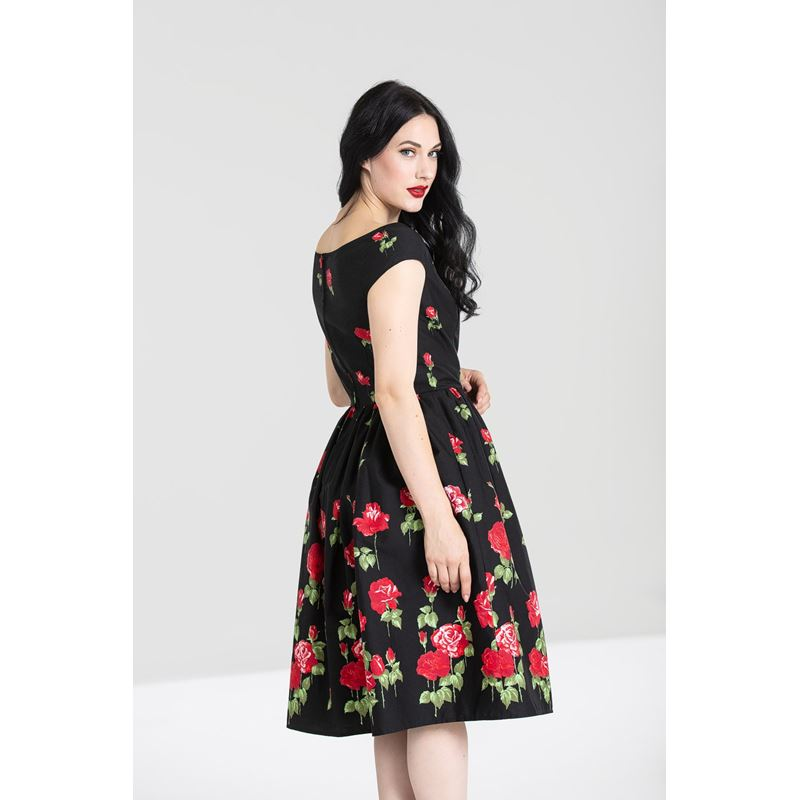 02203fe0b1 Hell Bunny Marlena 50s Style Red Rose Floral Dress