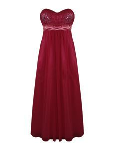 Strapless Chiffon Lace Cocktail Evening Maxi Party Dress Wine