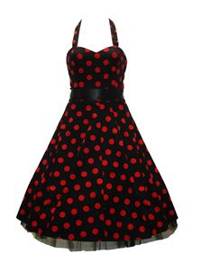 H&R London 50's Big Polka Dot Dress Black & Red