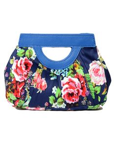 Hearts & Roses London Navy Blue Floral Clutch Bag