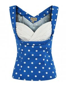 Lindy Bop Dorelia Blue White Polka Dot Top