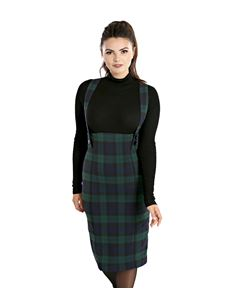 Hell Bunny Evelyn 50s Pinafore Pencil Tartan Skirt