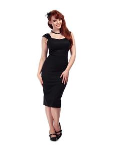 Collectif 50s Sweetheart Style Jill Black Pencil Dress