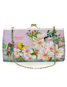 Woody Ellen 50's Style Bloom Retro Clutch Shoulder Bag Pale Pink