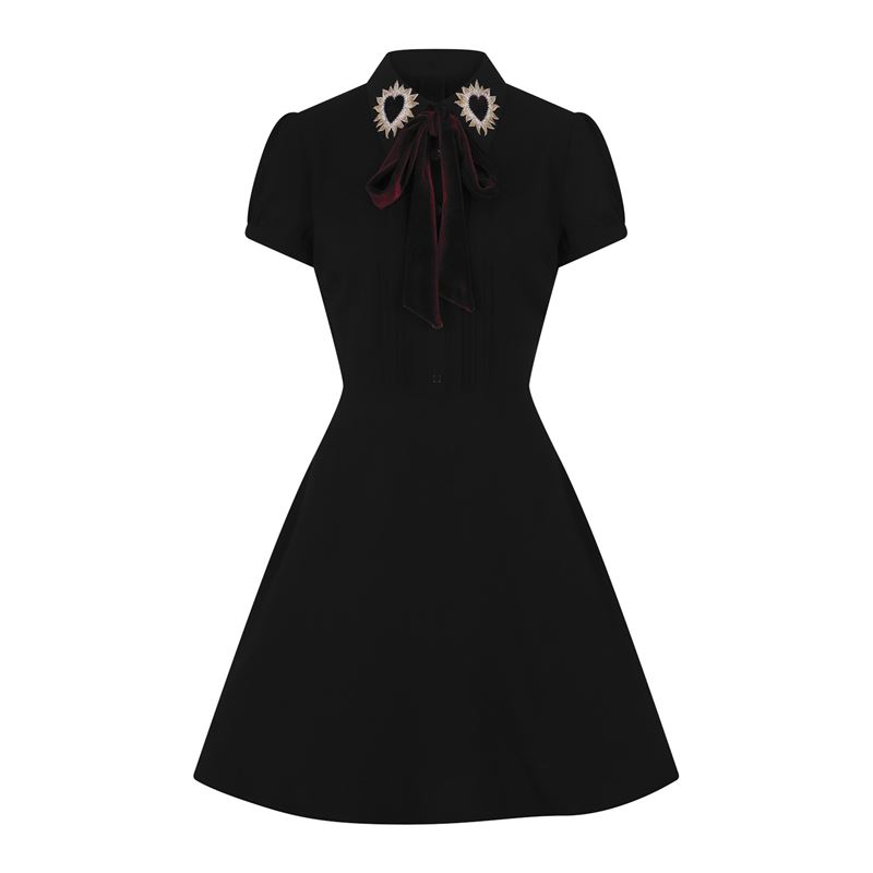 Hell Bunny Madonna Heart Removable Bow Black Dress