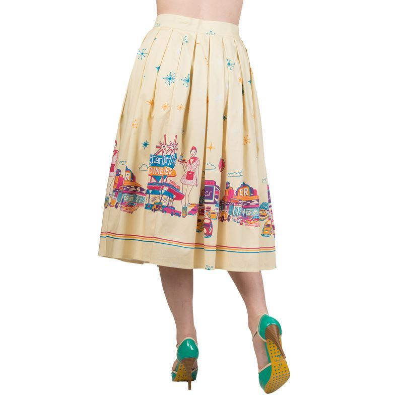 Hold Tight Dancing Days 50s Style Yellow American Diner Jive Skirt