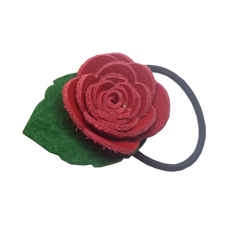 Said Lucy Red Leather Rose Hair Elastic