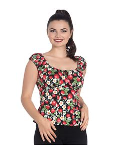 Hell Bunny Strawberry Sundae 50s Gypsy Rockabilly Top