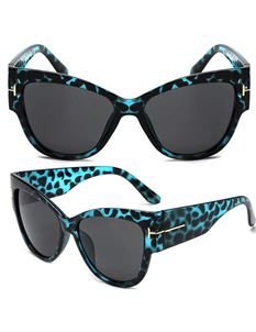 Guns N Posies Blue Leopard Retro Frame Sunglasses