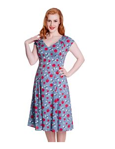 Hell Bunny 40s 50s Style Sheila Blue Apple Print Dress