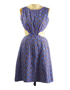 True Vintage 1960's Blue & Orange Cut Out Dress