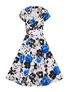 White Daisy Blue Floral Short Sleeves 50's Swing Dress