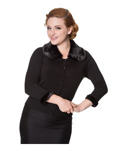 Dancing Days Black Sapphire 50s Fur Collar Cardigan
