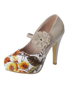 Poisoned Chic Patent Floral High Heel Platform Shoes Beige