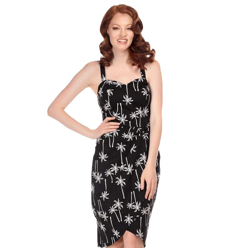 Collectif Black Palm Sarong Dress