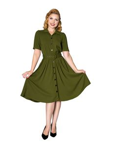 Sheen WW11 1940s Style Queenie Green Tea Dress