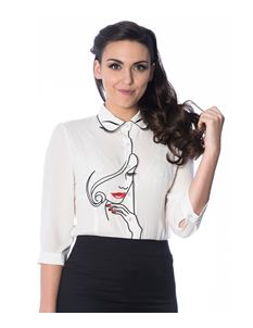 Dancing Days-Banned White Model Face Embroidered Blouse