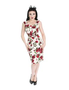 H&R London 50's Ditsy Red Rose Sweetheart Wiggle Dress