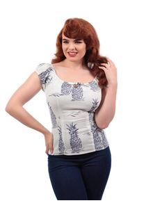 Collectif Lorena 50s Pineapple Blue Toile Gypsy Top