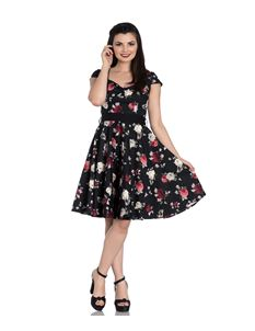 Hell Bunny Abella Rose Floral Black Day Dress