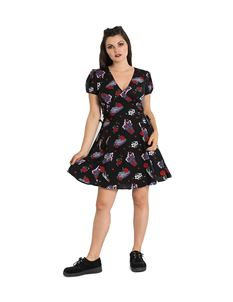 Hell Bunny Even In Death Coffin Floral Mini Dress