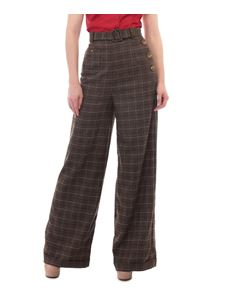 Collectif Gertrude 40s Brown Check Swing Jive Trousers