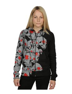 Poisoned Womens Red Eye Skull Zip Hoodie