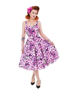 Hearts & Roses Purple Cornflower Swing Dress