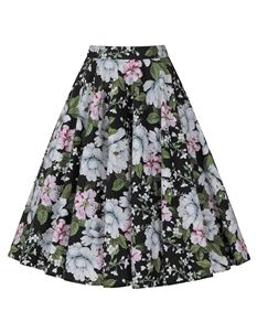 Hell Bunny Alba Vintage Floral 50s Style Circular Skirt