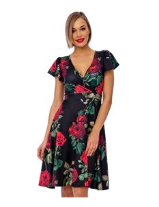 Bettie Vintage Rose Cap Sleeve Crossover Swing Dress