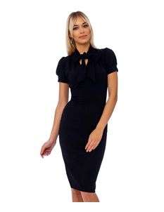 Bettie Vintage Black Bodycon Pencil Dress with Tie Neck