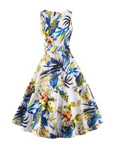 Foxy Roxy Retro Blue And Yellow Tropical Floral Swing Dress