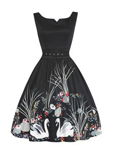Lindy Bop Delta Swan Border Print Black Swing Dress