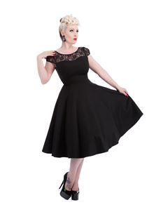 Hearts & Roses Black Lace 50s Style Swing Dress