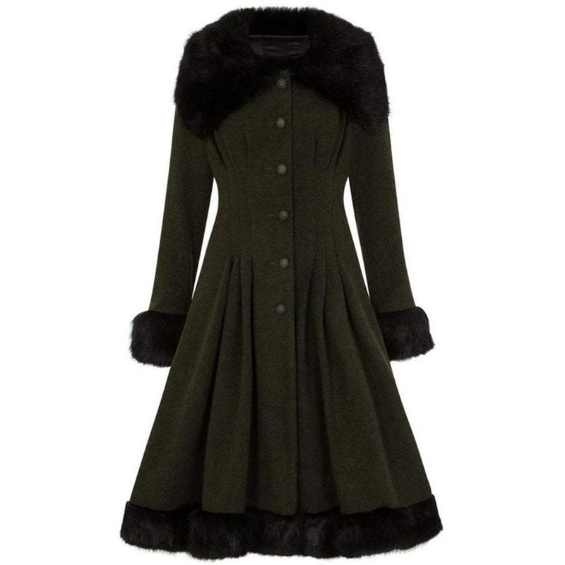 Collectif 30s 40s 50s Olive Green Pearl Swing Coat
