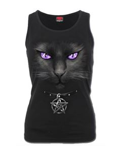Spiral Direct Black Cat Racer Back Vest Top